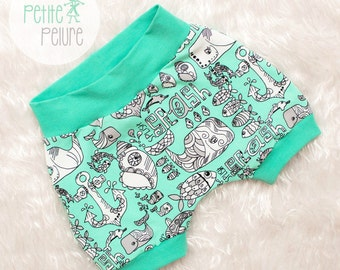 Short ocean/anchor/whale Mint and white stretch cotton knit