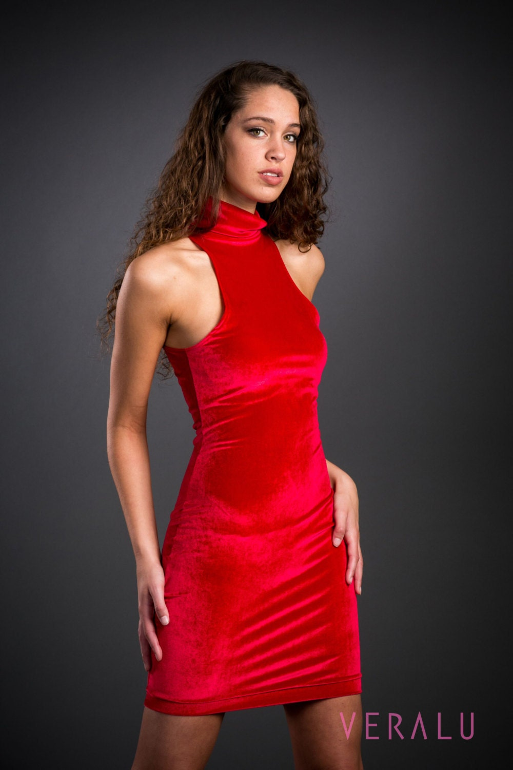 VERALU Red velvet dress