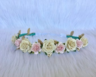Ivory and Pink flower Crown, Ivory and pink Flower Halo, Baby Flower Crown, Baby Flower Halo