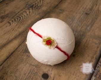 Red Mohair Newborn Tieback, Valentine's Day Baby Headband