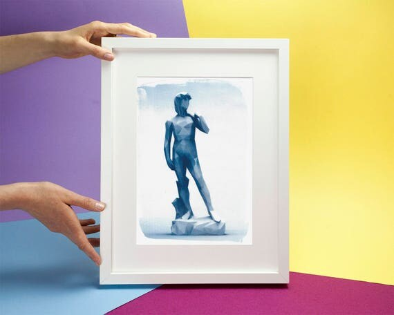 Michelangelo's David Low-Poly Sculpture, Cyanotype Print on Watercolor Paper, A4 size (Limited Edition)