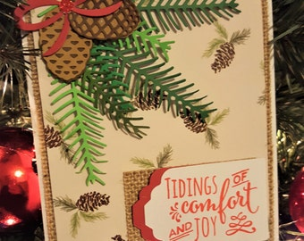 Warm Holiday Card, Handmade Christmas Card, Holiday Greeting Card