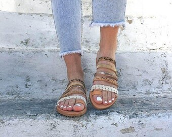 Leather Sandals Women, Greek Sandals, Toe Ring Sandals, Gladiator Sandals, Slip On Sandals, Strappy Sandals by Christina Christi Jewels.