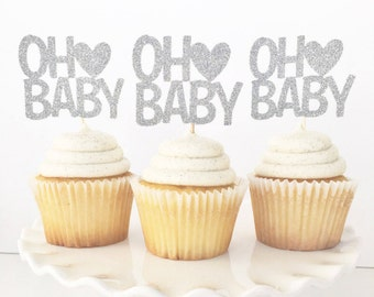 Oh Baby Cupcake Toppers / Baby Shower / Baby Sprinkle / Gender Reveal / Baby Reveal / Gender Neutral Decorations / Momma To Be