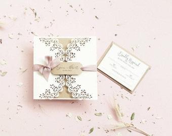 Cut Invites / Lace Wedding Invite / Gatefold Invite / Gatefold Invitation / Papercut Invitation / Papercut Invite / Ivory Wedding Invite