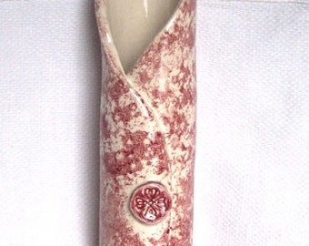 Red & White Wrap Vase - Ceramic Vase - Pottery Vase