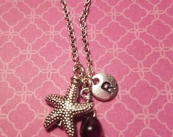 Birthstone February Amethyst necklace starfish Amethyst February birthstone Amethyst starfish birthstone starfish February charm Amethyst