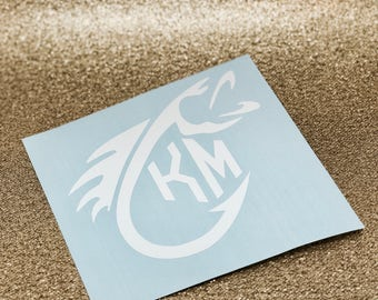 Monogram Fish Vinyl Decal | Fish Hook Decal | Monogram Sticker | Yeti Cup Decal | Yeti Cup Monogram | Custom Decal