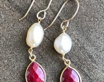 Ruby bezel and fresh water baroque pearl earrings. 14k gold filled earrings. Vermeil earrings. Free shipping within USA.