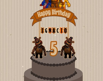 Five Nights at Freddy's Cake Topper, Five Nights at Freddy Birthday, Five Nights at Freddy's Party, Five Nights at Freddy Custom Cake Topper