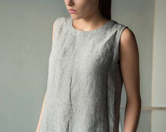 Loose linen tank top in grey white for women, sleeveless linen top, linen summer top, grey linen blouse, plus size clothing, women linen top