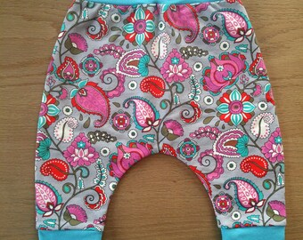 SOLD, grow with me pants, french terry, paisley, pink, fushia, blue, turquoise, kids clothing, clothes, baby shower, gift