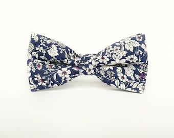 Men's floral blue bow tie floral Pre-tied bow tie gift for men wedding blue floral bow tie groomsmen