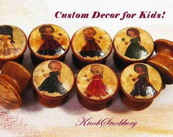 Princess Dolls Custom Knobs for Girls. Wooden Pulls for Dresser Drawers or Cabinet Doors. Great New Baby Gift