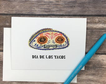 dia de los muertos card -taco card - sugar skull card - blank greeting card - funny food card - funny card - mexican card - card for him