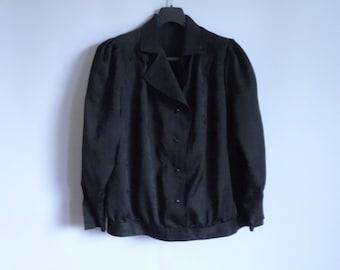 Black Women Jacket Button Up Festive Jacket Blazer Vintage  90s style Silky fabric Size : Medium Large