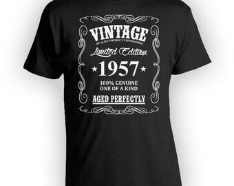 60th Birthday Gift Ideas For Him 60th Birthday T Shirt Custom Birthday Shirt Bday Present Vintage 1957 Aged Perfectly Mens Tee - BG42
