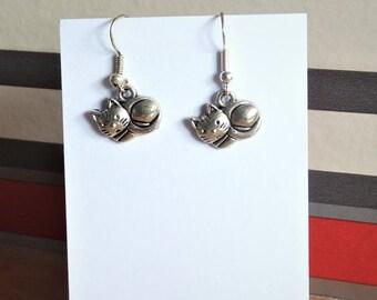 Sterling silver cat lover kitty earrings jewellery birthday gift for her, kitty cat dangle earrings, feline animal lover gift jewellery gift