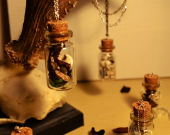 Ocean Curiosity Bottles, Glass vial pendants with treasures of the sea, silver/antique chain, collections of seashells,sea glass,seaweed etc