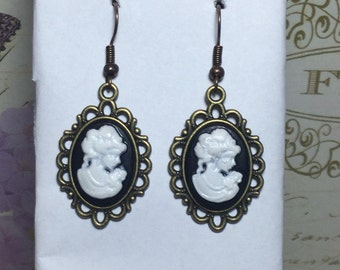 Cameo Victorian Lady Black White Bronze Dangle Earrings