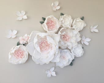 "Paper Flower Backdrop  // Paper Flower Wall  // Crepe Paper Flowers // Giant Paper Flowers // Rustic Wedding // ""Elegant Blooms"""