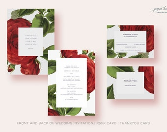 Red Roses Invitation suite | illustration vintage flowers | Romantic | Invitation set | Save the date | RSVP | Wishing Well