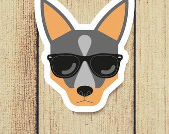 Blue Heeler Cattle Dog in Sunglasses Vinyl Decal