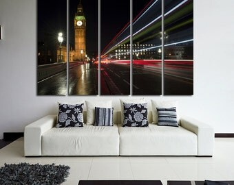 Large Wall London Canvas Color Big Ben Night London  Multipanel Canvas Big Ben  Art Large  1-3-4-5 Panel London Print