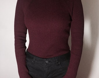 slim sweater / knit (Burgundy)