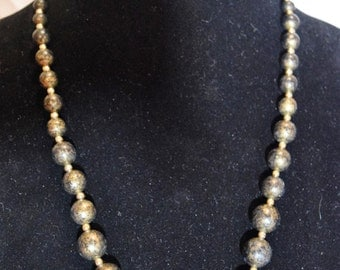 Black and Gold Speckled Bead Necklace