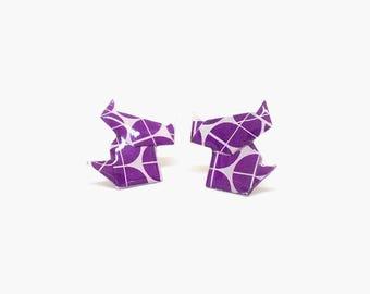 Cat stud earrings, cat earrings, origami earrings, paper earrings, origami jewelry, purple earrings, jewelry