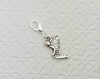 Butterfly fairy charm, bracelet charm, zipper pull, purse charm, silver pixie charm on lobster clasp, Fast Shipping from USA CS509