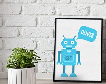 Robot Print - personalised robot print - boys room prints - girls room prints - robot print - custom prints - kids room prints