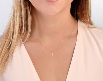 Dainty CZ Necklace, Cubic Zirconia Necklace, Tiny Diamond Necklace, Simple CZ Necklace, Everyday Layering Necklace, Minimal CZ Necklace,