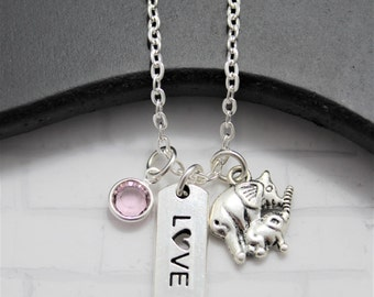 Mom and Baby Elephant Necklace - New Mom Gift - Elephant Necklace - African Elephant Necklace