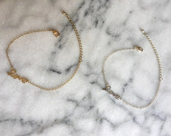 LOVE Bracelet *Silver Gold Simple Minimalist Dainty Cute Present Link Chain Jewellery* FREE GIFT! Valentine's!
