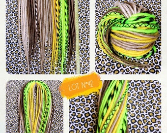 35 double Dreads synthetic 50cm. Blond, Brown, yellow, neon yellow and black. Dreadlocks. Dreadovore