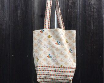 Birds & Rainbows Reversible Canvas Tote Bag