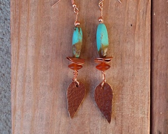 Western Brown and Turquoise Dangles