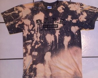 DARE Bleached T Shirt / Distressed DARE Bleach Washed T Shirt Size Medium