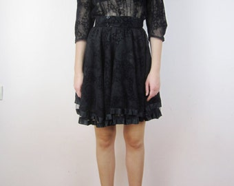 vintage Black devore velvet & lace paisley // puff sleeve // swing dress