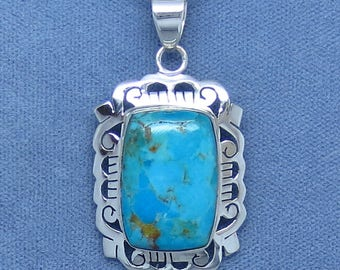 Arizona Blue Turquoise Filigree Pendant - Sterling Silver - 161608 - Free Shipping to the USA