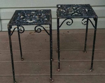 Antique Victorian Wrought Iron Plant Stand Set ~ Pair ~ Cast Iron ~ Black ~ Matching Pedestal Tables ~ Accent Stand