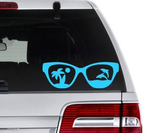 Sunglasses Decal - Beach Sunglasses Decal - Summer Decal - Palm Tree Decal - Beach Lover Decal - Sunglasses Yeti Decal - Summer Fun Decals