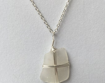 Cape Cod Necklace, white sea glass, silver chain