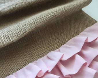 Ruffle Burlap Table Runner | Baby Shower Tablecloth | Custom Party Tablecloths | Shabby Chic Ruffled Table Runner | Gender Reveal Party