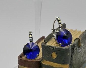 12mm Dark Indigo (Cobalt) Blue Earrings with Aurora Borealis Accents BEAUTIFUL
