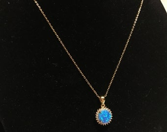 Gold Vermeil Round Turquoise Opal Necklace