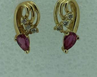 14kt Yellow Gold Lady's Diamond and Ruby Earrings with Posts and Friction Backs