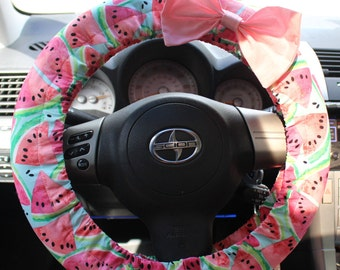 Summer Watermelon Print Steering Wheel cover with bow pin -cute car decor, accessories, comfortable, girl gift, gift for her